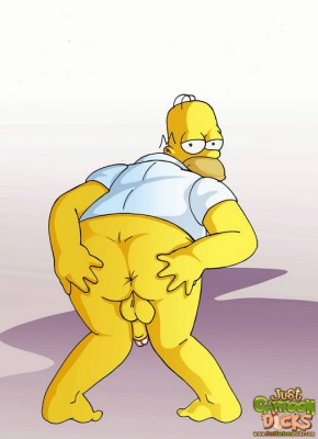 homer simpson spreads toon gay ass